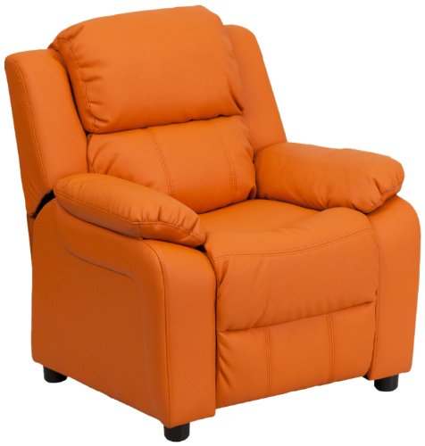 Flash Furniture Deluxe Padded Contemporary Orange Vinyl Kids Recliner with Storage (Leather Living Room Set)