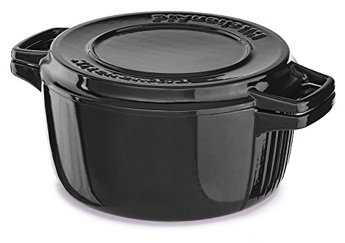 KitchenAid KCPI40CROB Professional Cast Iron 4-Quart Casserole Cookware - Onyx (Onyx Casserole Dish)