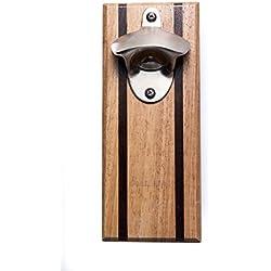 Bruntmor, CAPMAGS Strong Magnetic w/ Zinc Alloy Beer Opener & Cap Catcher - Rubberwood Hand Painted