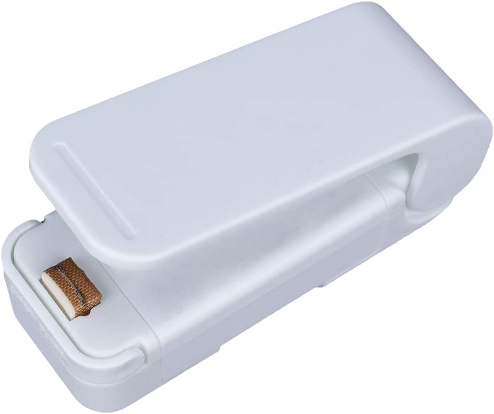 Mini Bag Sealer, Bag Sealer Heat Seal Mini, Portable Mini Sealing Machine Handheld, Heat Sealer for Plastic Bags and Food Storage Snacks (White)