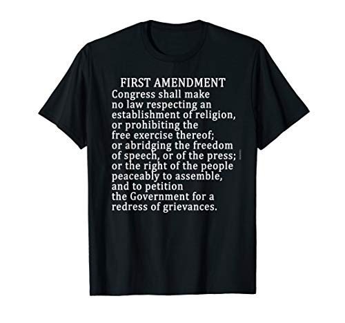 1st AMENDMENT T-SHIRT FREE PRESS Bill of Rights