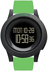REACT! Mens LED Sport Watch Unisex Green Silicone Band Large Black Dial 50 mm Reloj RA3031