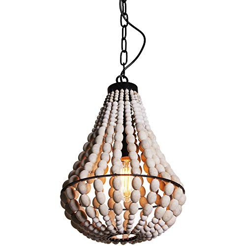 Wereal Wood Bead Chandelier Light Pendant Fixture Rustic Antique 1-Light Walnut Finished Ceiling Lamp, Kitchen, Living Room, Bedroom ()