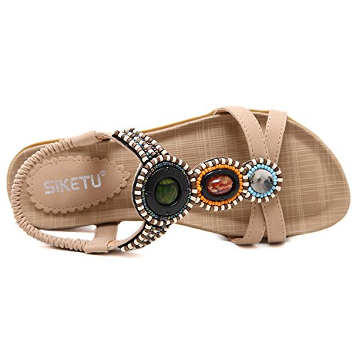 Azbro Women's Summer Rhinestone Bead Slip On Thong Flat Sandals, Beige EURO36/US5.5/UK3.5