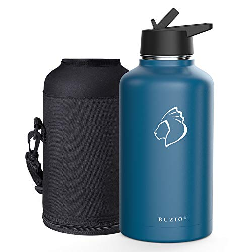 BUZIO Vacuum Insulated Stainless Steel Water Bottle (Cold for 48 Hrs/Hot for 24 Hrs), 64oz Double Walled Wide Mouth Sports Drink Flask with BPA Free Straw Lid and Flex Cap, Cobalt (Cobalt Lid)