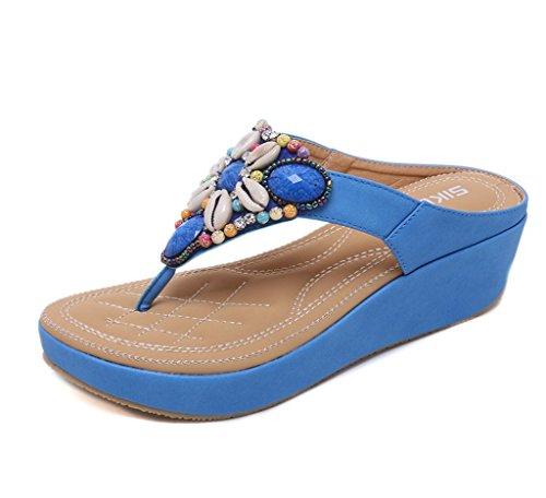 Liangxie New Pendiente Srta Beads Sandalias Color De Del Sandalia Summer Pure Clip Azul Dedo Pie Zhhzz Owx1OU