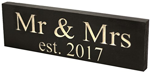 Ideas Costume Barn Dance (Mr & Mrs Est. 2017 Wedding Sign - Made from Solid Reclaimed Wood & Individually Carved - Made in the USA - Lightweight, Handmade, Wedding Decor - Newlywed Gifts -)