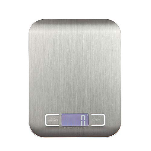 Digital Kitchen Scale, Ovios Food Scale, Maximum Weight 11 lb/5 kg gram Scale, Weight Scale for Food, Stainless Steel, Silver ()