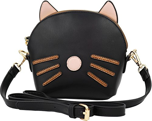 - B BRENTANO Vegan Medium Cat 3D Ear Whisker Crossbody Bag (Black)