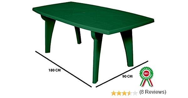 Mesa Mesa Rectangular 180 x 90 Lipari de dura resina de plástico verde con agujero para sombrilla para exterior Casa balcón Bar Sagra de jardín: Amazon.es: Jardín