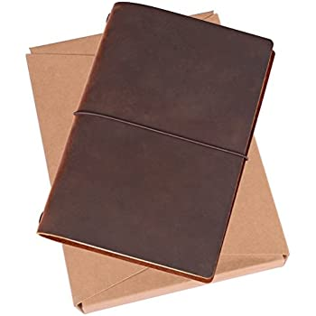Refillable Leather Journal Writing Diary   A5 Travelers Notebook With Dot  Grid Pages (Handmade, Brown)