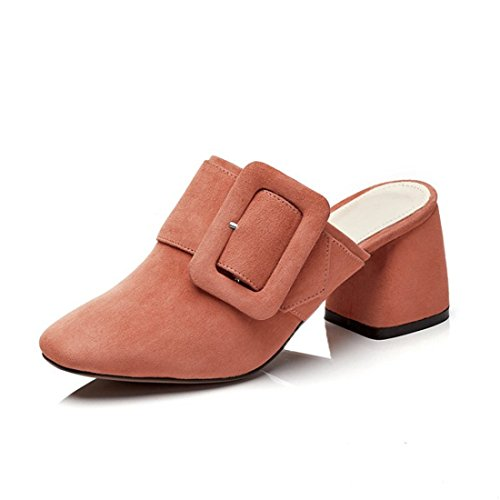 Womens Classic Casual Backless Platform Instapper Blokhak Mules 1281831 Steenrood