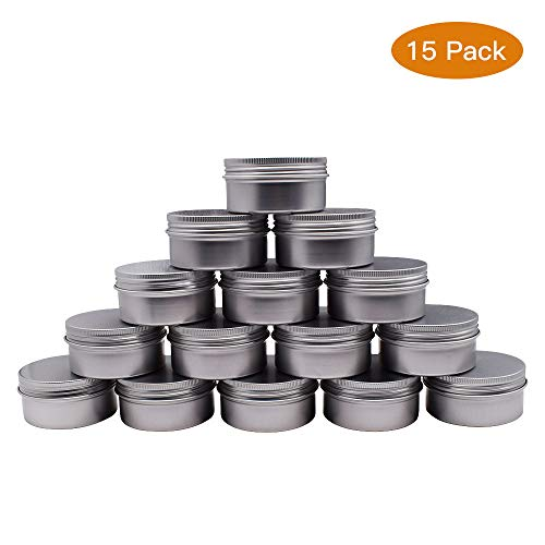 Healthcom 3 oz 15 Packs Round Aluminum Tin Cans Screw Top Metal Steel Tins Empty Slip Slide Round Containers Bulk Storage Organization for Lip Balm,Crafts,Cosmetic,Candles(90g) ()