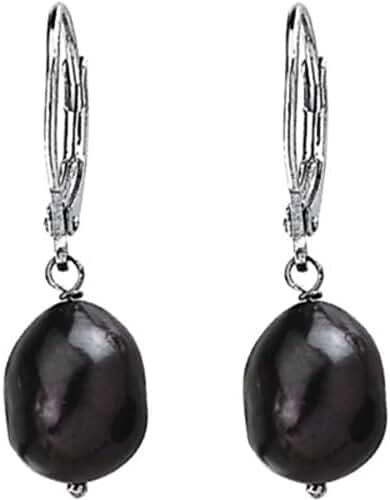 Freshwater Black Cultured Baroque Pearl Earrings in Sterling Silver