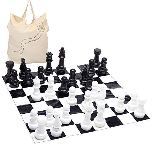 Garden Games Junior Jumbo Chess with 4' x 4' Mat (Garden Tiled Furniture)