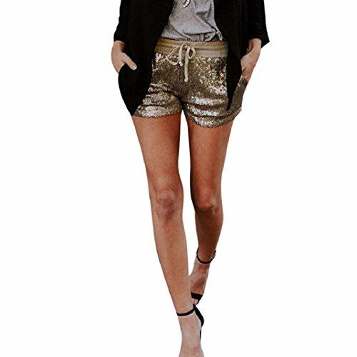 Fashion Women Sequins Adjustable Bandage Shorts Mid Waist Sexy Pocket Shorts Causal Hot Pants (XL) (Jeans Pants Sequin)