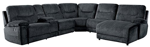 Homelegance Columbus 6 Piece Sectional with Two Reclining Chairs and One Right Side Reclining Chaise, and Center Cup holders Console Fabric, Cobblestone (Motion Recliner Armless)