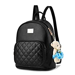 BAG WIZARD Leather Backpack Purse Satchel School Bags Casual Travel Daypacks for Womens (pureblack)