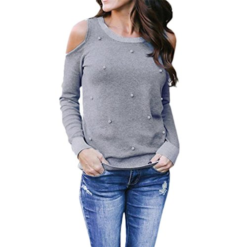 use, Long Sleeve Beading T-Shirt Loose Casual Off Shoulder Tops Blous (Gray, S) (Casual Loose Beadings)