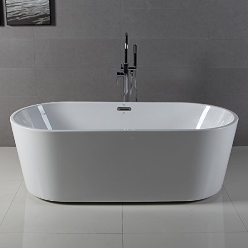 Discover Bargain FerdY 67'' Acrylic Stand Alone Bathtub, White Modern Freestanding Bathtub Soaking B...