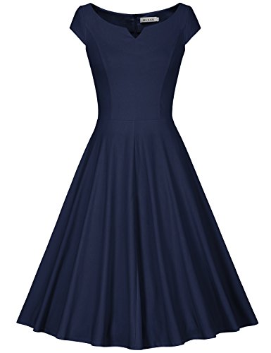 MUXXN Women's Vintage 1950s Cap Sleeve Rockabilly Cocktail Flared Dress (L Blue)