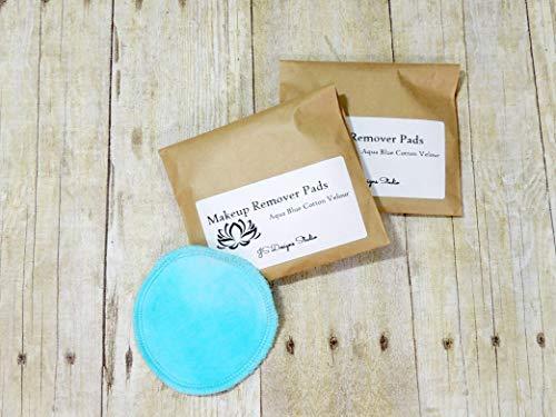 - Aqua Blue Reusable Cotton Velour Makeup Remover Pads - Set of 10