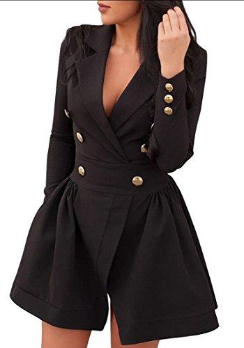 Office amp;W Button amp;S Blazer Black Double Peplum Breasted Lapel Work Women M xA45zInn