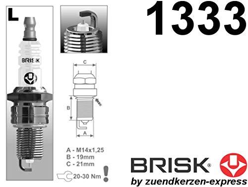 BRISK Silver LR17YS 1333 Bujías de Encendido Benzin LPG CNG Autogas, 4 piezas: Amazon.es: Coche y moto