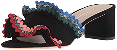 Loeffler Randall Women's Vera Ruffle Slide Sandal (Woven Cotton) Heeled