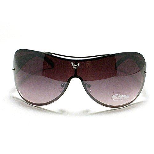 Oversized Rimless Shield Aviator Sunglasses- - Sunglasses Aviator Shield