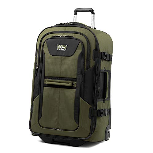 Travelpro Bold-Softside Expandable Rollaboard Upright Luggage, Olive/Black, Checked-Large 28-Inch