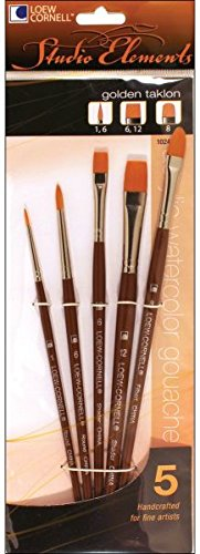 Loew-Cornell 1024938 Studio Elements Golden Taklon Short Handle Round/Short Handleader/Filbert Brush (Taklon Filbert)