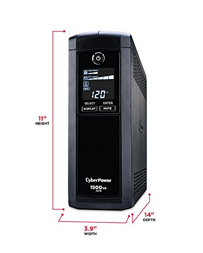 CyberPower CP1500AVRLCD Intelligent LCD UPS System 1500VA 900W 12 Outlets AVR mini Tower strength Accessories