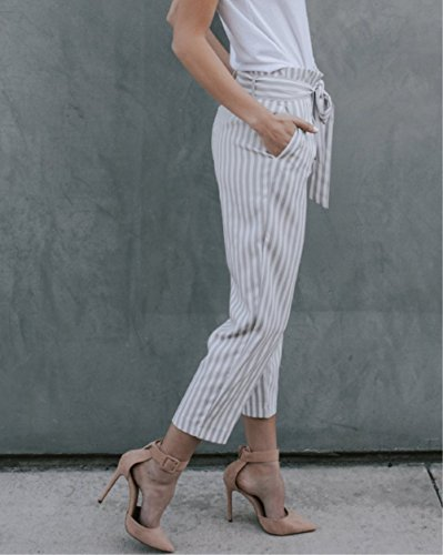 MNLYBABY Womens Casual Belted Striped High Waisted Loose Long Pants with Pocket Size M/US 4-6 (Grey) by MNLYBABY (Image #2)