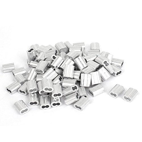 Chris-Wang 100Pcs 2mm Wire Rope Aluminum Sleeves Clip Fittings Cable Crimps(Silver Tone) from Chris.W