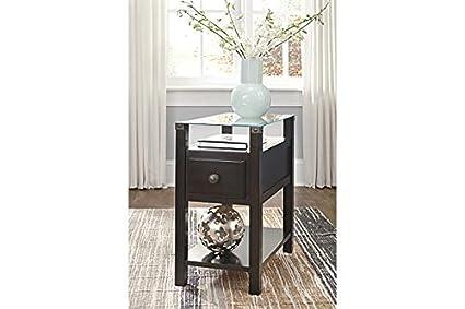 1001d049333fef Signature Design by Ashley T217-771 Diamenton Chairside End Table Almost  Black