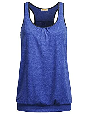 Baikea Women's Sleeveless Casual Racerback Workout Tank Tops With Banded Hem