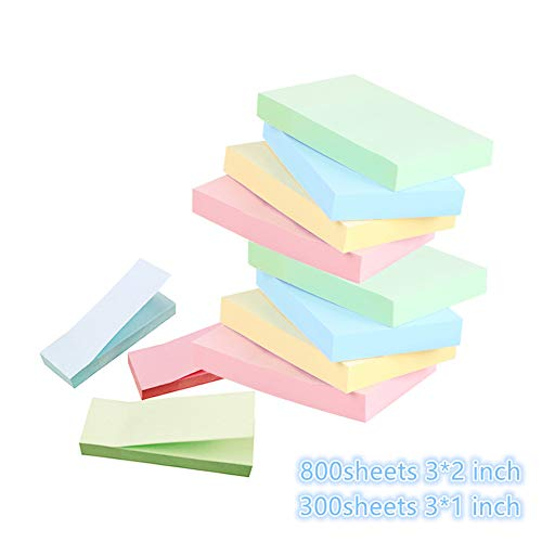 Sticky Notes - 9 Pack Self-Stick Notes ,4 Colors Self-Stick Notes Memo, Post, Reminder for Students, Home, Desk, Office Supplies,3x2 inches 8 Pads ,3x1 inches 3 Pads,1100 Sheets