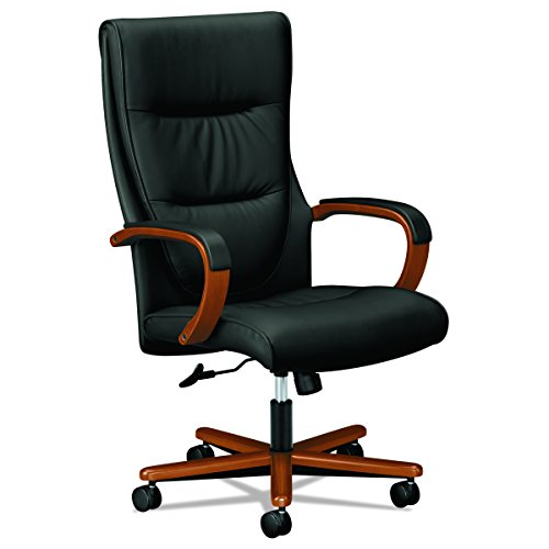 HON Topflight Executive Leather Chair - High-Back Office Chair for Computer Desk, Black/Bourbon Cherry (HVL844) - Executive Cherry Wood