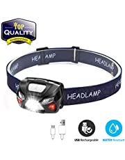 Head Torch,OUTERDO Sensor Headlamp 210LM 6 MODES Head Lights LED USB Rechargeable with Super Bright White Light and Warn Red Light for Reading, Working, Camping, Walking, Waterproof Gesture sensing