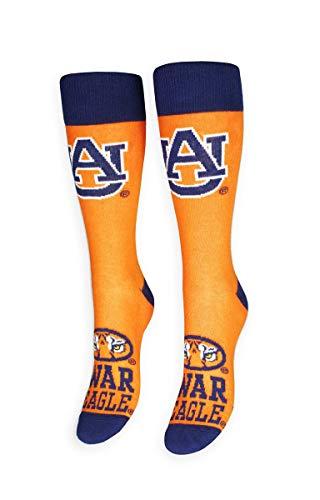 FREAKER Feet, Unisex Casual Dress Fun Colorful Cotton Crew Socks, NCAA Collegiate Auburn University Tigers War Eagles