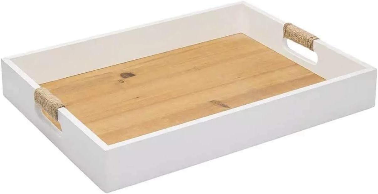 Minimalist Design White Tray - White Serving Tray - Food Tray - Farmhouse/Boho - Countertop Organizer - Trays - Kitchen Organizer - Drawer Organizer - Chic Coffee Basket - White Ottoman Tray