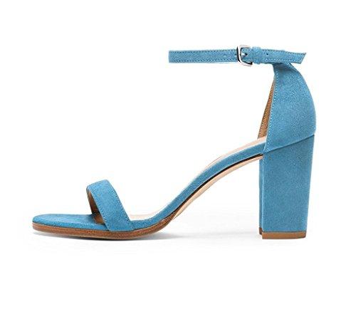 Edefs Blocco Cinturino A scarpe Caviglia Sandali Aperta Punta Blue Donna Tacco 1wwqFzxY