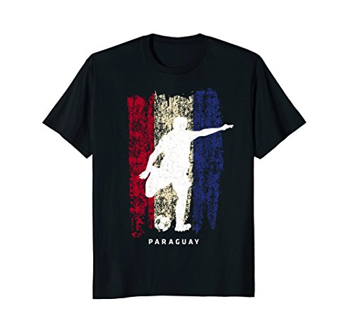 Paraguay Flag T-Shirt Soccer Player Silhouette - Paraguay Flag T-shirt