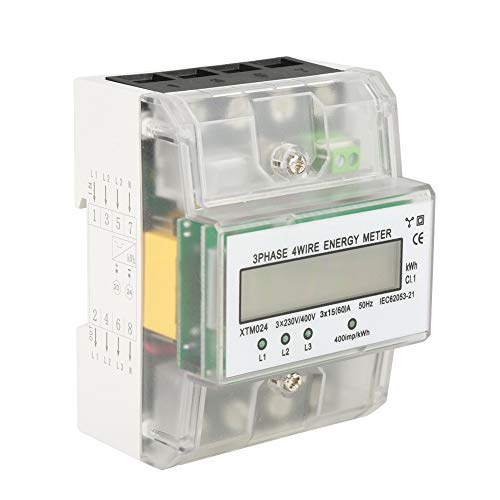 - DIN-Rail Electric Meter,Digital 3-Phase 4 Wire Electronic KWh Meter with Transparent Cover for Sub-metering System(30(100) A)