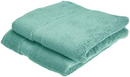 Pinzon Lot de 2 serviettes de bain en coton Pima Vert minéral