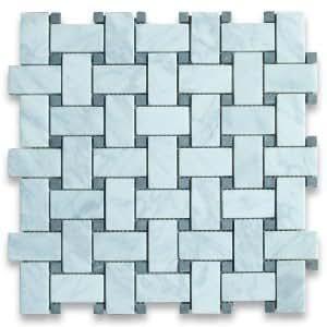 White Carrara 1x2 Basketweave Black Dot Honed Marble Mosaic Tile