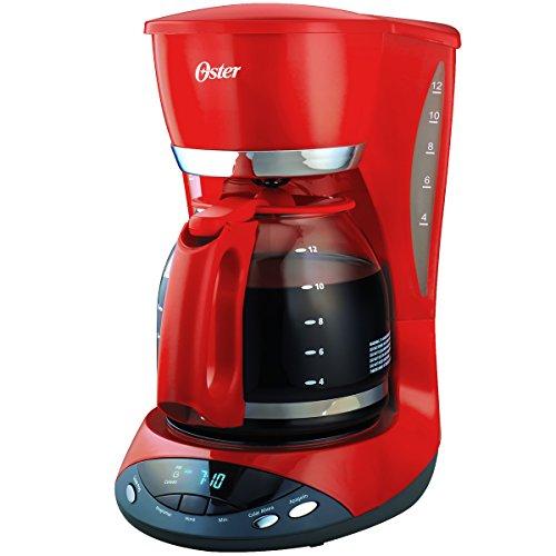 Cafetera programable Oster roja de 12 tazas con apagado automático de dos horas