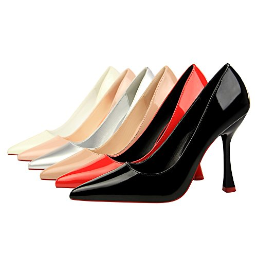 New American Lack Spitze Leder Heels Shoes Heels Style Fashion High Flache XIAOQI Schwarz Thin Simple High Sexy European and 8rqPEr