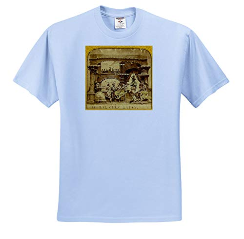 Scenes from The Past - Stereoview - 1800s French Diabolerie Vintage Stereoview Satans Ball - T-Shirts - Adult Light-Blue-T-Shirt 3XL (ts_300279_55)